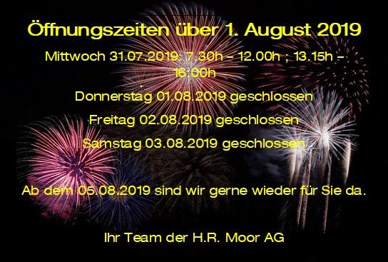 Öffnungszeiten 1. August 2019