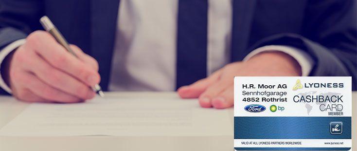 Cashback Karte beantragen bei H.R. Moor AG Sennhofgarage Rothrist