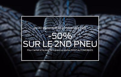 Offre exceptionnelle pneus : le deuxième à -50% !