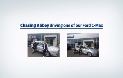 Chasing Abbey driving one of our Ford C-Max