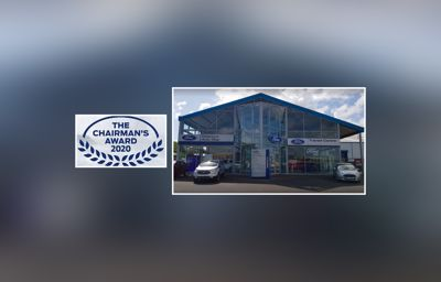 Downey's Auto Stop  winning the Ford Chairman's award for 2020