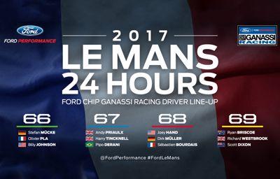Gehele Ford GT-team in 2017 aan de start bij 24 uur van Le Mans