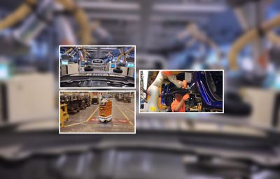 Robots die Ford auto's helpen te produceren