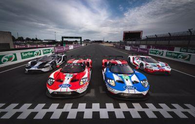 Vijf Ford GT's zijn klaar voor het gevecht onder de merken op Le Mans