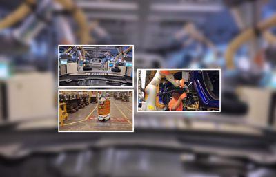 Robots die Ford auto's helpen produceren
