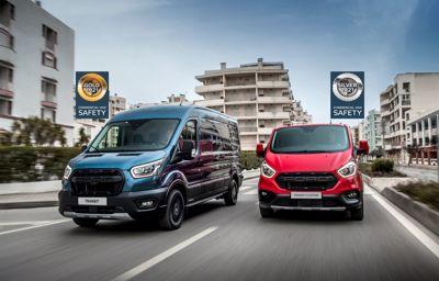 Fordy Transit i Transit Custom uzyskały świetne wyniki w pierwszej ocenie Euro NCAP dla systemów bezpieczeństwa czynnego samochodów dostawczych.