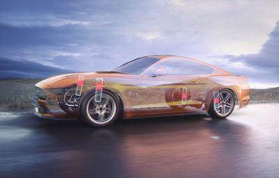 Magnetisk vätska i stötdämpare optimerar väghållningen på nya Ford Mustang