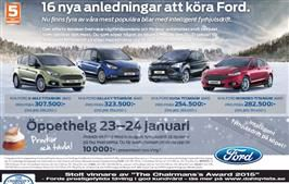Helgen 23 – 24 januari är du välkommen att uppleva 16 nya anledningar att köra Ford.