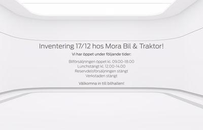 Inventering 17/12 hos Mora Bil & Traktor!