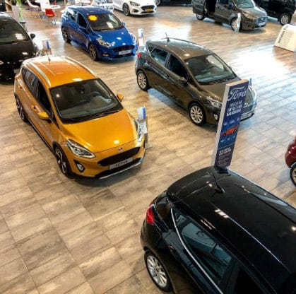 Ford Fiesta in showroom