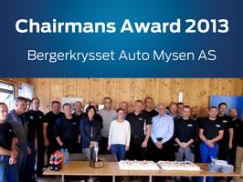 Bergerkrysset Auto vant Chairmans Award 2013